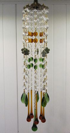 Amber green crystal wind chime sun catcher.