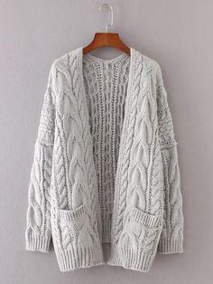 Cardigan en tricot à câble avec la chute de l épaule -French SheIn( 81df895ba032