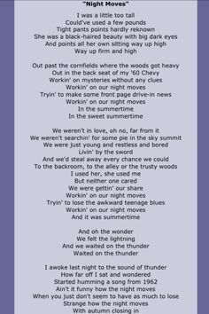 This song always makes me feel a little sad : Night Moves by Bob Seger