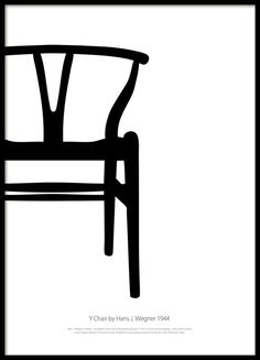 Graphical black and white poster with the classic Wishbone Chair, Y Chair by Hans J. Wegner. Stylish Scandinavian design that looks perfect on any wall. Create an art collage on the wall with our Stylish posters of design chairs. www.desenio.com