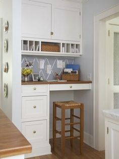 """A """"mom central"""" organizing nook - every kitchen needs one! #smallspaces #office #kitchen"""