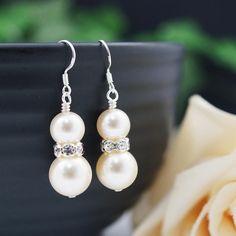 Wedding Bridal Earrings Bridesmaid Gifts Bridesmaid Earrings Swarovski Pearls with rhinestone rondelles dangle earrings