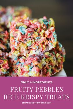 Fruity Pebbles Rice Krispy Treats - Jen Around the World These Fruity Pebbles Rice Krispy Treats have become our new favorite dessert in the house. Fruity Pebbles Treats, Fruity Pebbles Cereal, Recipes With Fruity Pebbles, Fruity Pebble Cookies, Köstliche Desserts, Delicious Desserts, Dessert Recipes, Necterine Recipes, Chard Recipes