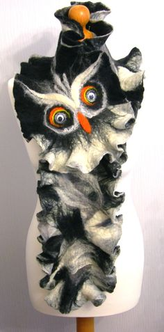 Hand Felted Wool Jewelry felted SCARF OWL Wrap by SkyWool