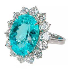 Blue Paraiba Tourmaline Diamond Platinum Ring | 1stdibs.com
