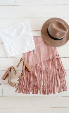 Skirt: pink suede skirt, pink skirt, fringe skirt, hat, white t . Pink Suede Skirt, Suede Fringe Skirt, Boho Fashion, Autumn Fashion, Womens Fashion, Runway Fashion, Fashion Jewelry, Fashion Trends, Mode Style