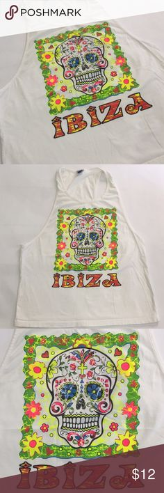 Large Ibiza Muscle Tank skull design neon white Dope skull pattern muscle tank. Size large. Neon color Tops Muscle Tees