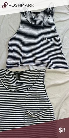 Striped top, XXI The sides peek out so if you pair this with a cute bralette it would be adorable! ️️ Forever 21 Tops Tank Tops