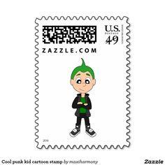Cool punk kid cartoon stamp