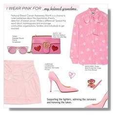 """WHO DO YOU WEAR PINK FOR"" by larissa-takahassi ❤ liked on Polyvore featuring Moschino, Gucci, Christian Louboutin, Fendi, La Prairie, Tweezerman and breastcancerawareness"