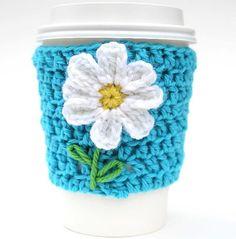Daisy travel mug cup cozy coffee crochet