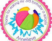 Pool Party Beach Ball - Personalized Stickers, Party Favor Labels, Birthday, Pool Party, Beach, - Choice of Size. $6.00, via Etsy.