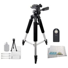 """Wireless Remote Control + 57"""" Tripod For The Nikon D3000, D3200, D3300, D5000, D5100, D5200, D5300, D5500, D7000, D7100, D7200, D90, D600, D610, D800, D800E, D810, D810A, D700, D750, P900 Digital SLR Cameras with Bonus Starter Cleaning Kit"""