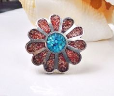 Old Sterling Silver Coral Turquoise Chip Inlay Navajo Cluster flower Size 5 Ring #Unbranded