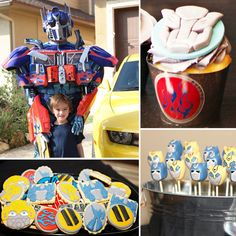 """My twins love Transformers, and they really love the Michael Bay movies,"" says Miranda Konieczny of Whimsical Printables and Whimsically Detailed. ""I saw so many of the cute cartoon versions, but I decided that I wanted to do more of a 5th Birthday Party Ideas, Party Themes For Boys, Baby Birthday, Birthday Bash, Transformer Party, Optimus Prime, Rescue Bots Birthday, Transformers Birthday Parties, Ideas Para Organizar"
