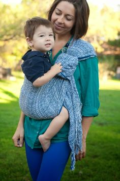 Down In My Heart Joy! Didymos Blue and White indio cotton ring sling fringe