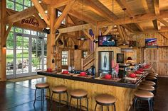 Loftylovin • Timber Barn House Conversion to Beautiful Home in... Barn House Conversion, Barn Conversions, Converted Barn, Barn Renovation, Pole Barn Homes, Pole Barns, Barn Living, Log Cabin Homes, Log Cabins