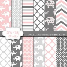 pink and gray elephants digital scrapbook papers by laneandmay Elephant Party, Elephant Theme, Grey Elephant, Elephant Baby Showers, Elephant Nursery, Girl Nursery, Nursery Ideas, Baby Scrapbook Pages, Digital Scrapbook Paper