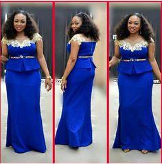 African Lace Styles, African Lace Dresses, Blue Dresses, African Attire, African Wear, African Fashion, Plus Size Wedding Guest Dresses, Plus Size Dresses, Ladies Boutique