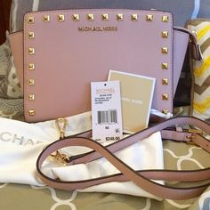 Medium MK Studded Selma in Ballet and Gold Brand new and never used!  This nude/pink crossbody is absolutely stunning!  I just don't have room for it anymore :(  Comes with dustbag, tag and crossbody strap. Michael Kors Bags Crossbody Bags