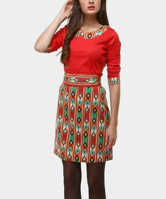 Take a look at this Red & Green Kiowa Rojo Boatneck Dress by Almatrichi on #zulily today!