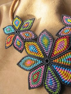 Multicolored Flower Macrame Necklace Handmade Creation and leather