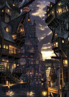 Tagged with fantasy, dump, destinybestgameever, helo; Dump of my favorite fantasy world pictures Fantasy City, Fantasy Kunst, Fantasy Places, Fantasy World, Final Fantasy, Dark Fantasy, Fantasy Village, Fantasy Artwork, Fantasy Art Landscapes