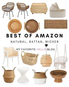 Best of natural, rattan, wicker home decor at Amazon. Amazon home decor inspiration for natural decor.