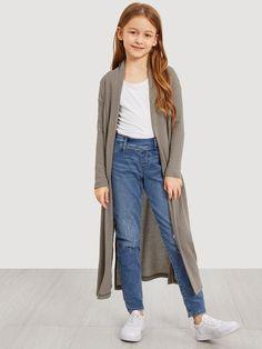 Girls Waffle Knit Split Side Jersey Duster Coat | SHEIN USA