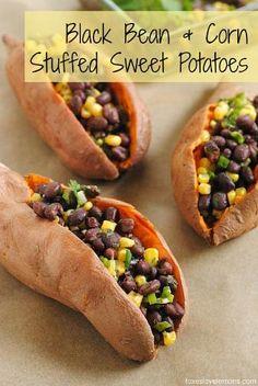 black bean & corn stuffed sweet potatoes (pinterest challenge) | Foxes Love Lemons | Recipes and Detroit Restaurant Reviews by Lori Yates