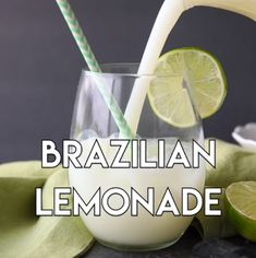 Brazilian Lemonade is a creamy limeade that is perfectly sweet and slightly tangy. The secret ingredient that makes it creamy will have you pouring glass after glass of this refreshing drink. Perfect for hot summer days, parties, and potlucks! Party Drinks, Cocktail Drinks, Fun Drinks, Yummy Drinks, Cold Drinks, Healthy Drinks, Alcoholic Drinks, Beverages, Food And Drinks