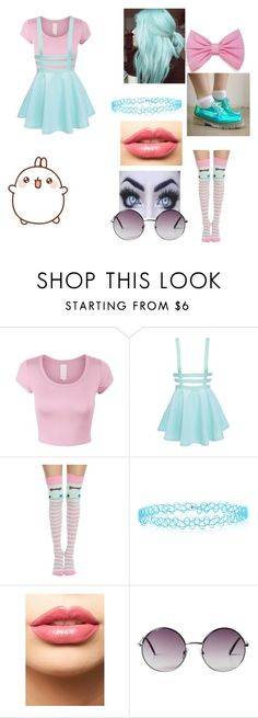 """Pastel goth #2"" by walkingtravesty-1 ❤ liked on Polyvore featuring Disney, Monsoon, LASplash and Monki"