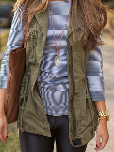 Love this casual fall outfit. Really want that vest!