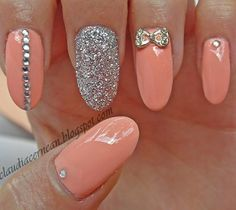 Peach Nails with a bow and gitter accent nail. #nailart #polish #manicure - See more nail looks at bellashoot.com & share your faves!