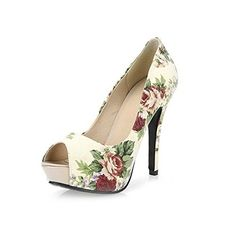 WeenFashion Womens Open Toe Peep Toe High Heels Spikes Stilettos Fabric Printing Sandals with Flower Beige 65 BM US * This is an Amazon Affiliate link. Read more at the image link.