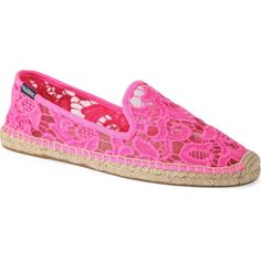 SOLUDOS Smoking tulip lace slipper espadrilles ($100) ❤ liked on Polyvore featuring shoes, sandals, neon pink, slip on shoes, soludos espadrilles, soludos shoes, braided sandals y espadrilles shoes