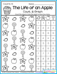 My Fall Counting Worksheets for Kindergarten include apple worksheets, count to 5, count to 10, count to 20, count to 100, color by number, graphing and more. Please check it out! Counting Worksheets For Kindergarten, Alphabet Tracing Worksheets, Counting To 20, Writing Lines, Upper And Lowercase Letters, Learn To Count, 10 Count, School Themes, Math Resources