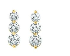 1.00 ct Lady's 3 Stone Diamond Dangle-Earrings in Prong Set 18 karat Yellow Gold AGK Diamonds,http://www.amazon.com/dp/B00914J8EU/ref=cm_sw_r_pi_dp_0MNisb105ZD8VR61