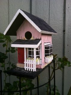 Custom Handpainted Birdhouse - Grandma's House,  Paned Windows, Yard Art, Shabby Chic, Housewarming Gift, Yard Decor, Customize