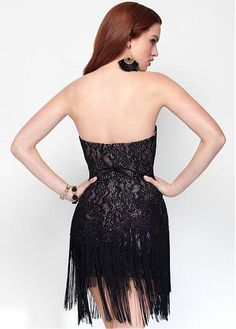 Marvelous Lace & Stretch Satin Sweetheart Neckline Sheath Cocktail Dresses With Tassels