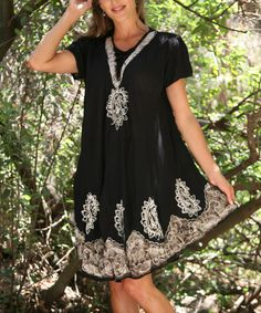 Anandas Collection Black & Silver Lace-Up Embroidered Swing Dress - Women | zulily