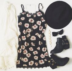 Black Floral Dress, White Lace Overshirt, Black Hat, Black Bow Tie, and Black Ankle Boots - http://ninjacosmico.com/22-beautiful-boho-chic-outfits-try/