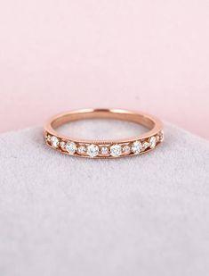 Rose Gold Diamond Ring women wedding Half eternity Wedding
