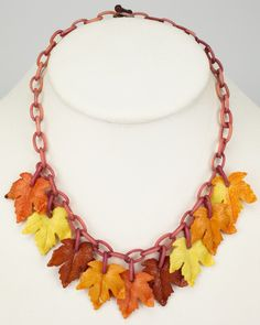 Vintage Bakelite Chain Link Maple Leaf Necklace