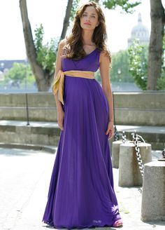 Queen Bee Imani Purple Maternity/Nursing Evening Maxi Dress by Pomkin