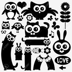 Black Silhouettes Of Cute Animals. Stickers Design Royalty Free Cliparts, Vectors, And Stock Illustration. Pic 22779939.