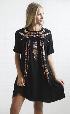 Beautiful boho black floral dress