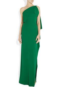 Love green dresses. Henleigh one-shoulder crepe-jersey gown - Roland Mouret - Net-a-Porter