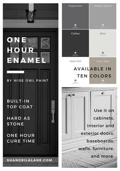 Cheap Home Decor Introducing the brand new One Hour Enamel by Wise Owl Chalk Synthesis Paint.Cheap Home Decor Introducing the brand new One Hour Enamel by Wise Owl Chalk Synthesis Paint House Paint Exterior, Exterior Paint Colors, Exterior House Colors, Paint Colors For Home, Exterior Doors, Interior And Exterior, Paint Colours, Outside Paint Colors, Exterior Paint Schemes