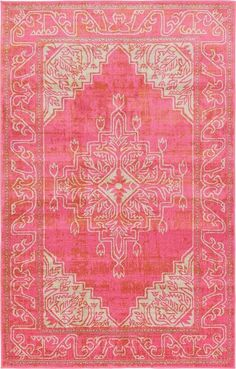 Features:  -Easy to clean.  -Stain resistant.  -Does not shed.  Technique: -Machine woven.  Primary Color: -Pink.  Type of Backing: -Cotton.  Material: -Synthetic.  Product Type: -Area Rug.  Material
